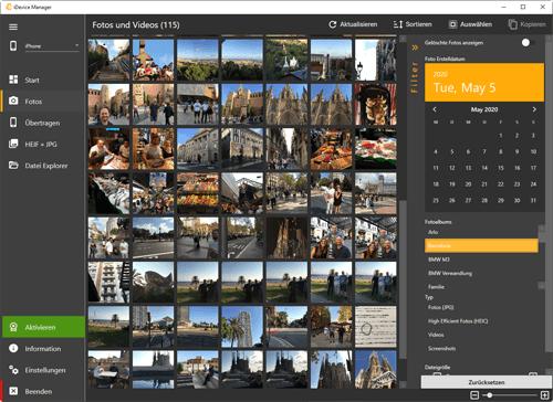 iDevice Manager – Fotos und Video vom iPhone auf Computer laden
