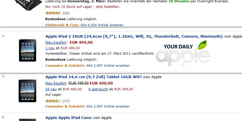 iPad 2 auf Amazon
