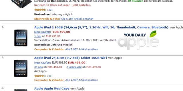 iPad 2 auf Amazon
