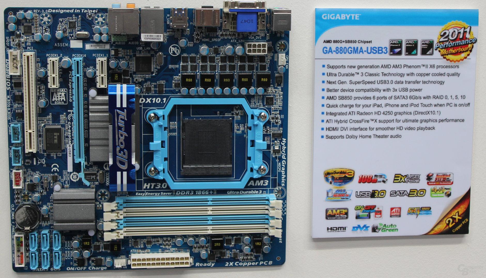 Gigabyte-Board mit Sockel AM3+ und AM3-Beschriftung
