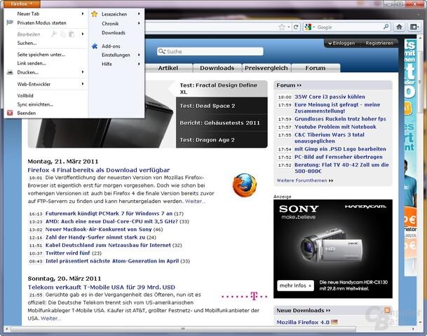 Mozilla Firefox 4.0: Neues Menü