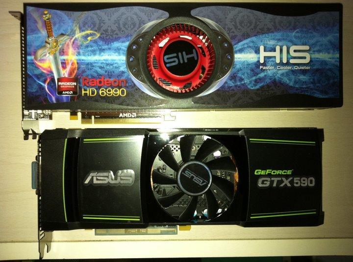 Asus GTX 590 vs. HIS HD 6990 im Größenvergleich