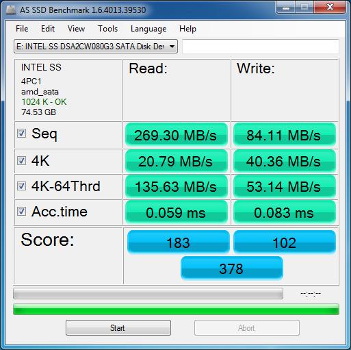 Intel SSD 320 Series 80 GB: AS SSD Benchmark