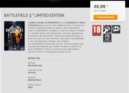 Battlefield 3 Limited Edition in EAs Download Manager   Quelle: CVG