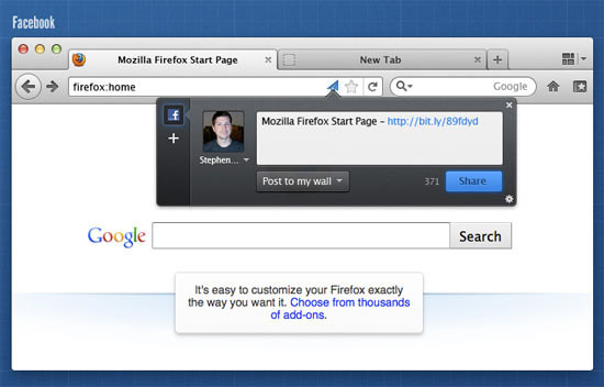 Firefox 5 – Social Sharing