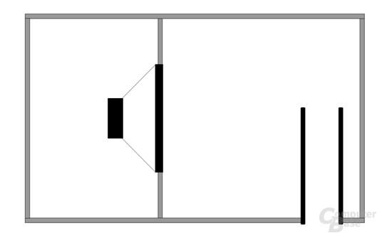 Schematischer Aufbau des Subwoofers des Corsair SP2500