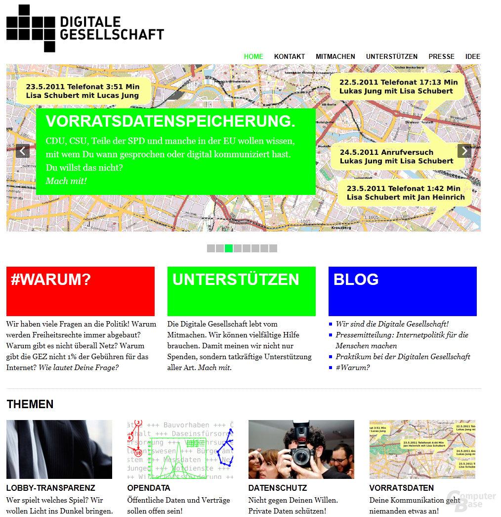 Internetauftritt des Vereins Digitale Gesellschaft
