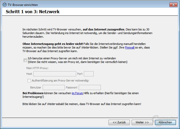 TV-Browser einrichten – Netzwerk