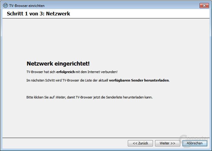 TV-Browser einrichten – Netzwerk eingerichtet!