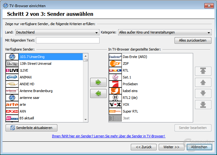 TV-Browser einrichten – Verfügbare Sender