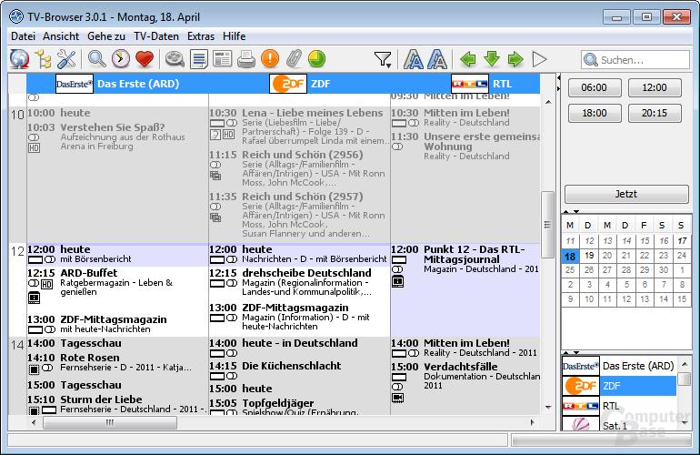 TV-Browser 3.0.1 – Hauptansicht