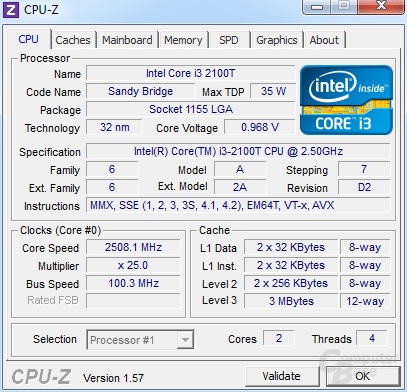 Intel Core i3-2100T im Idle