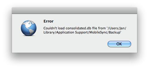Fehlermeldung beim iPhone 3G S unter Mac OS X