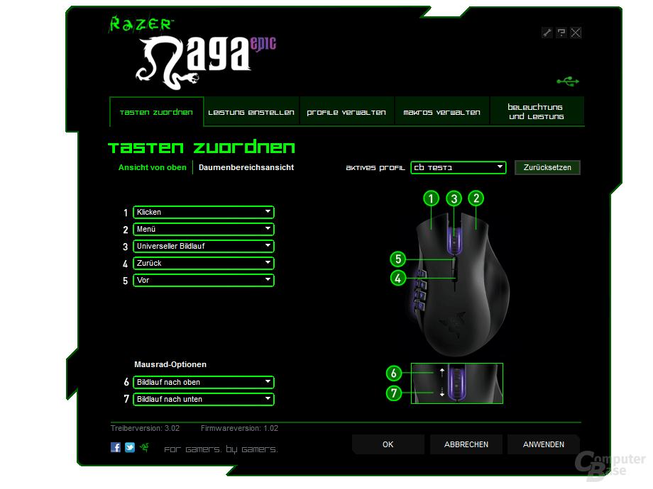 Razer Treiber: Tastenkonfiguration