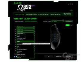 Razer Treiber: Auch die Zusatztasten sind konfigurierbar
