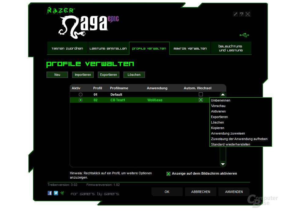 Razer Treiber: Profilverwaltung