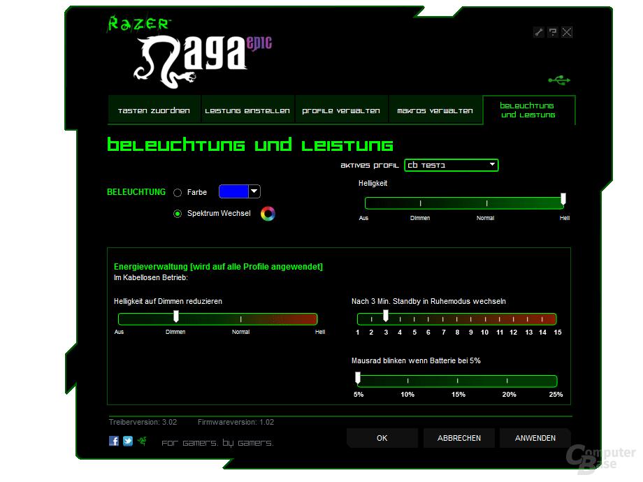 Razer Treiber: Beleuchtung und Akku-Leistung