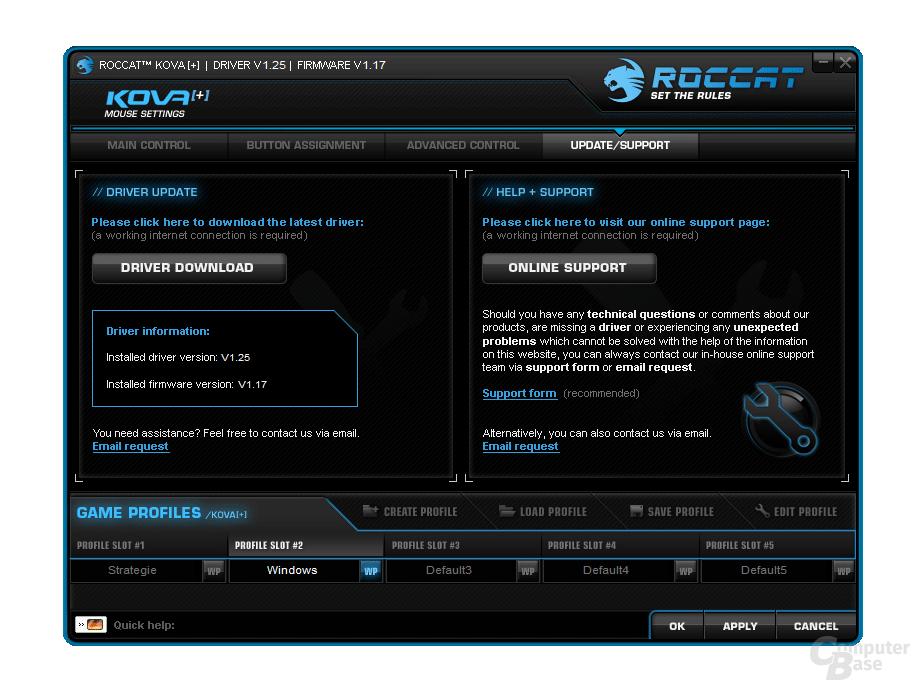 Homepage-Links in der Übersicht
