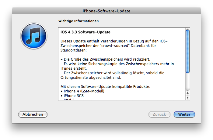 iOS Update – Version 4.4.3