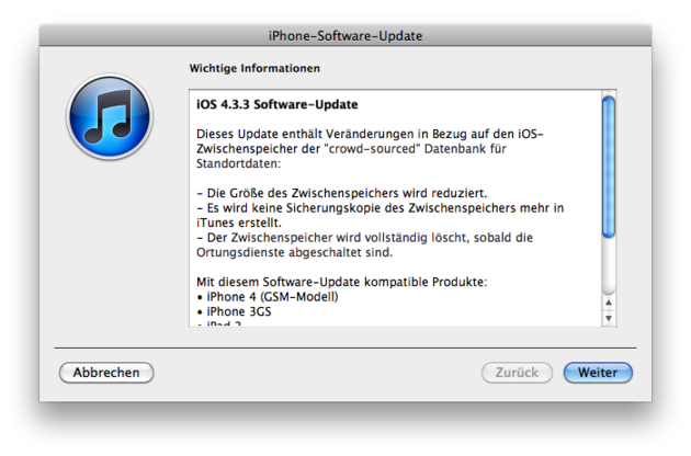 iOS Update – Version 4.4.3