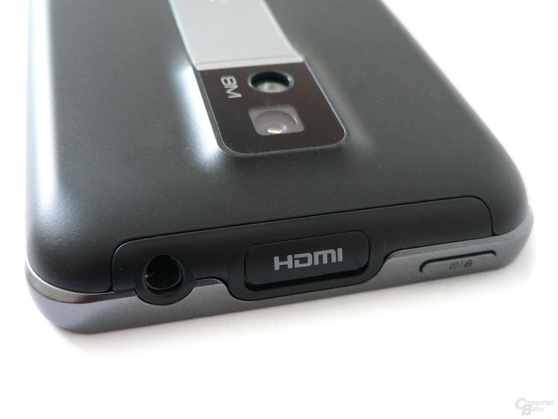 Stirnseite des Optimus Speed mit HDMI-Schnittstelle