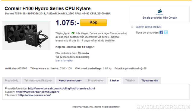 Corsair H100 in Web-Shop gesichtet