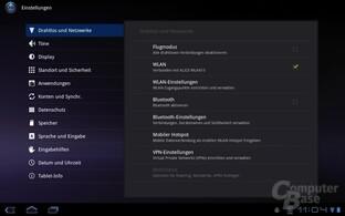 Android 3.0: Einstellungen