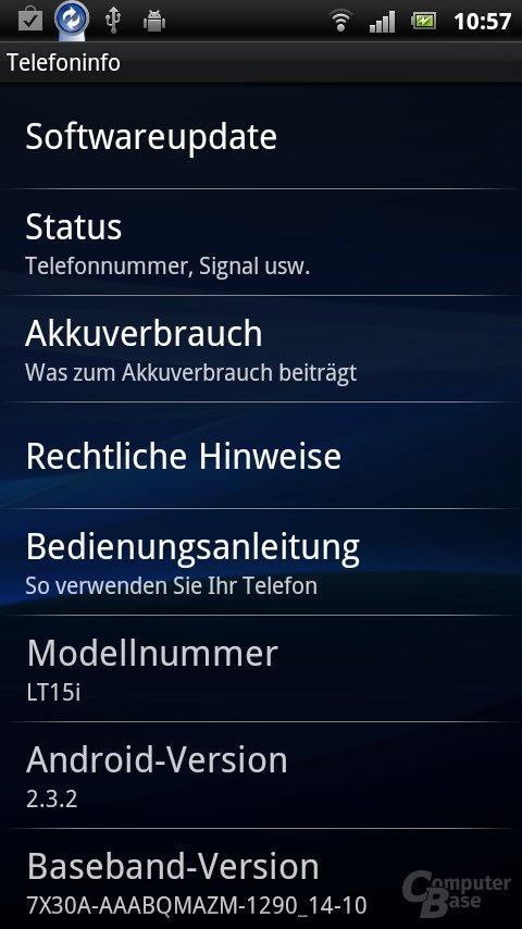 Sony Ericsson UX: Einstellungen