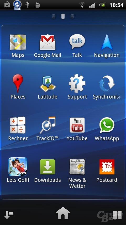Sony Ericsson UX: Installierte Apps