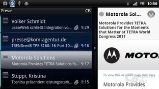 Sony Ericsson UX: Email-Client mit Vorschau