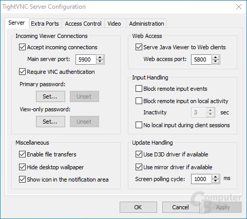 TightVNC – Server: Configuration