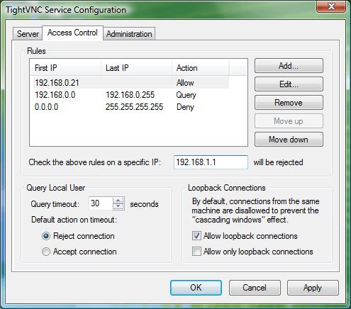 Service Configuration – Access Control