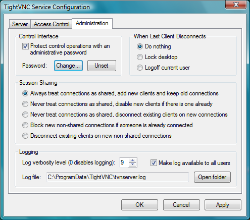 Service Configuration – Administration