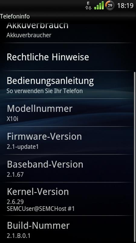 Xperia X10 Firmware-Update