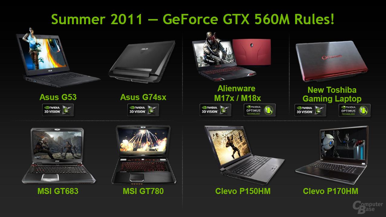 Nvidia GeForce GTX 560M und GT 520MX