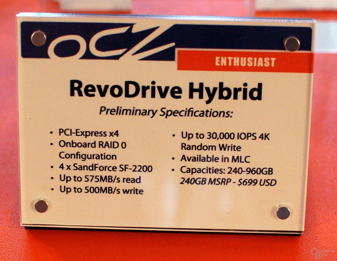 Spezifikationen OCZ RevoDrive Hybrid
