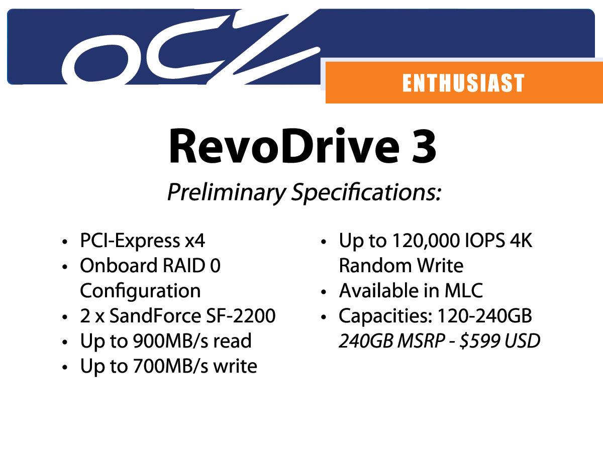 Spezifikationen OCZ RevoDrive 3