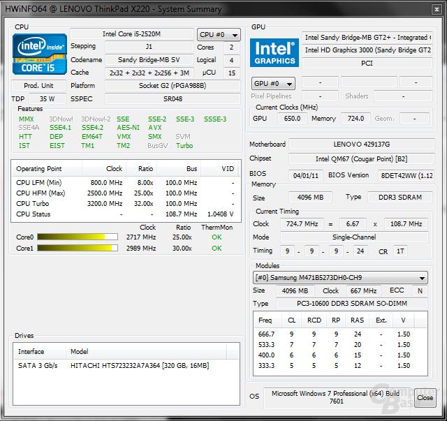 Lenovo X220: HardwareInfo64 - Last