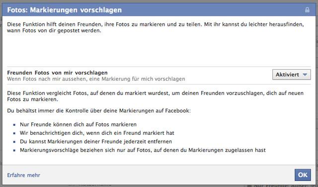 """Facebook: """"Fotos: Markierung vorschlagen"""""""