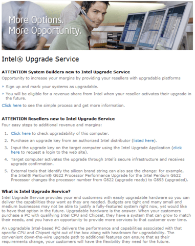 Intel Upgrade Service