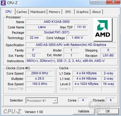 AMD A8-3850 in CPU-Z