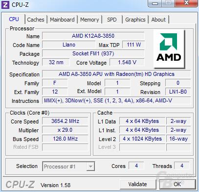 AMD A8-3850 bei 3,65 GHz