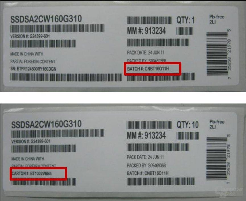Batch- und Cartonnummern