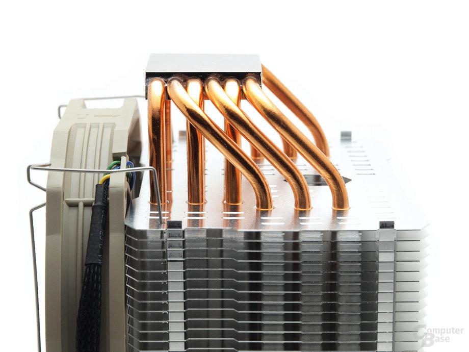 Sechs U-Heatpipes sorgen für Wärmeableitung