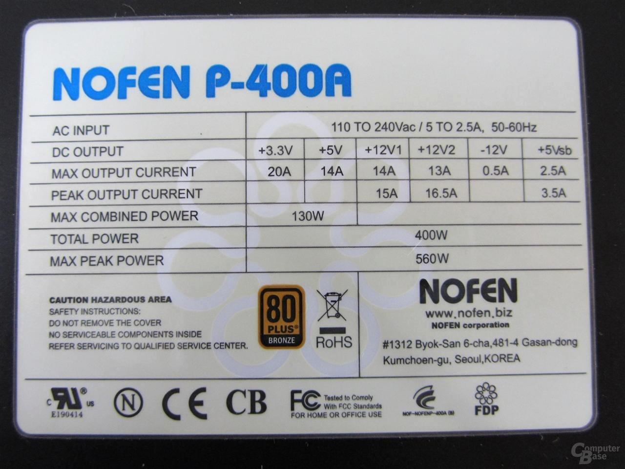 Nofan P400A – Technische Daten