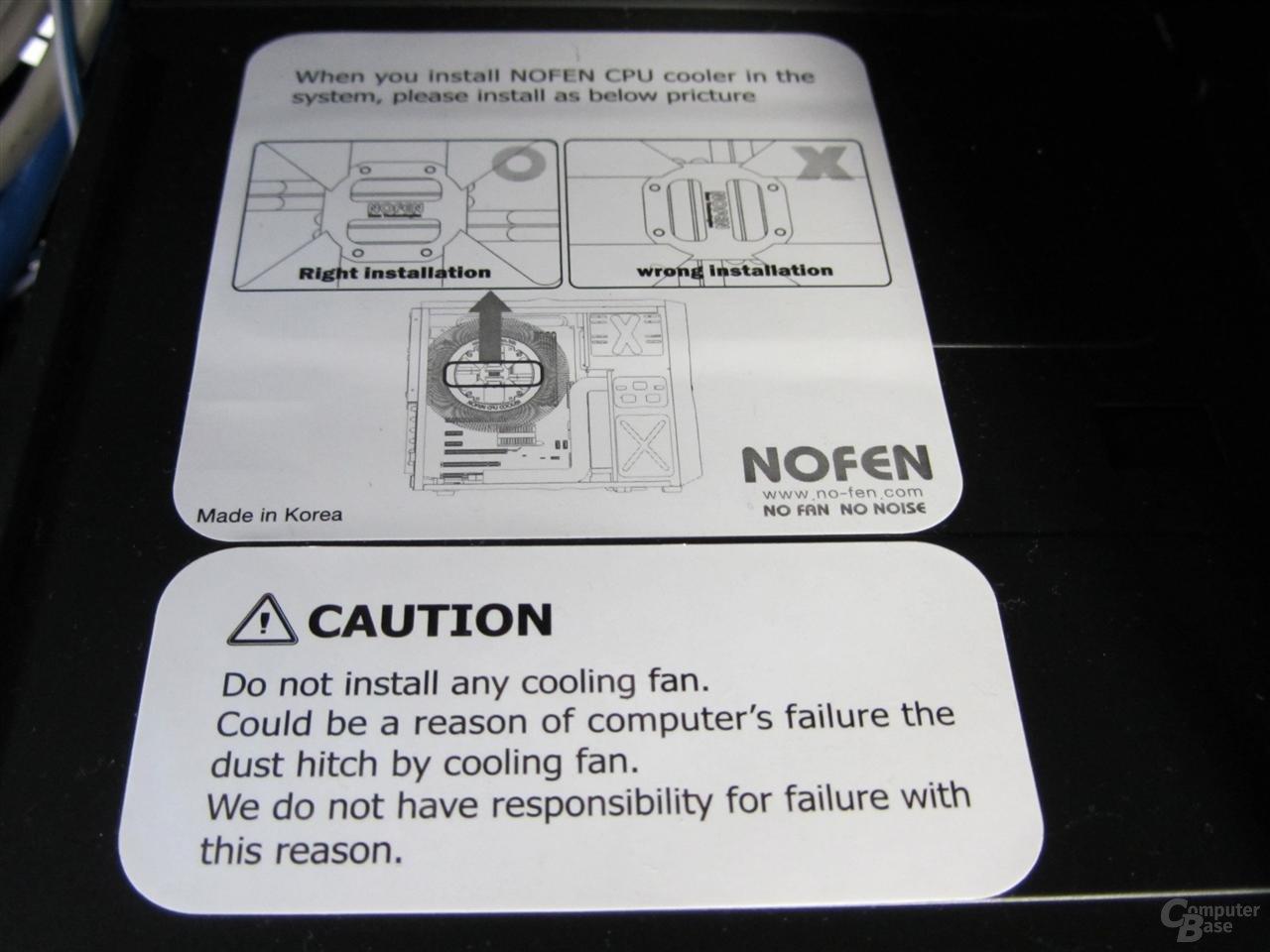 Nofan CS-60 – Der Einbau von Lüfter wird nicht empfohlen!