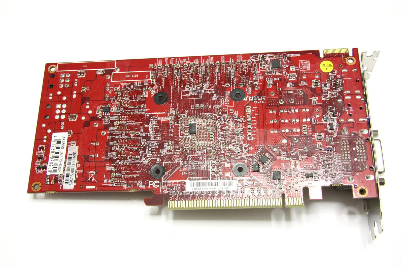 Radeon HD 6850 SCS3 Rückseite ohne Kühler
