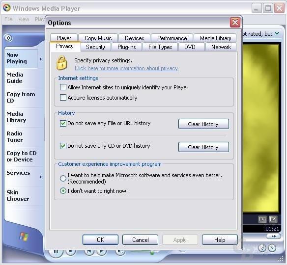 Media Player 9 - ein Teil der Schnüffelwerkzeuge lassen sich deaktivieren