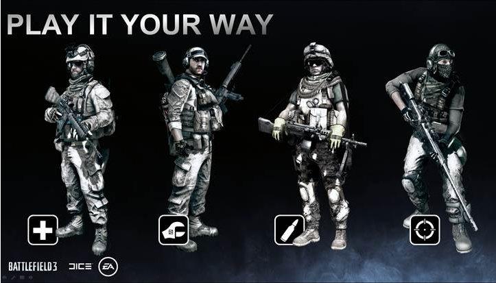 Die vier Klassen im Mehrspieler-Modus von Battlefield 3