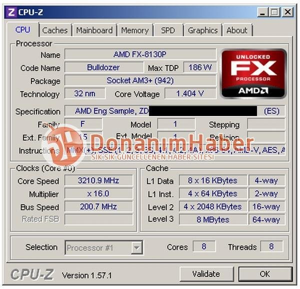 Bulldozer-Sample: CPU-Z